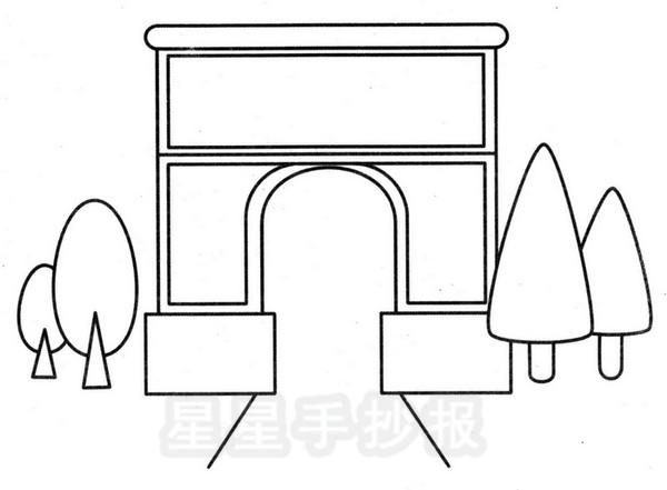 巴黎凯旋门简笔画