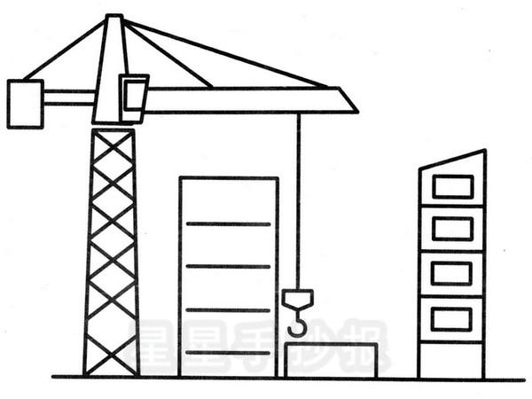 建筑工地简笔画图片
