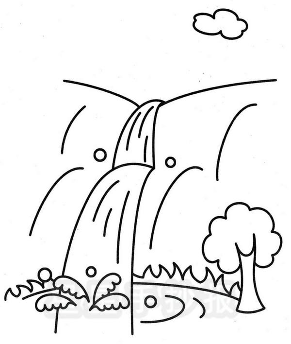 瀑布简笔画
