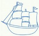 老式帆船简笔画