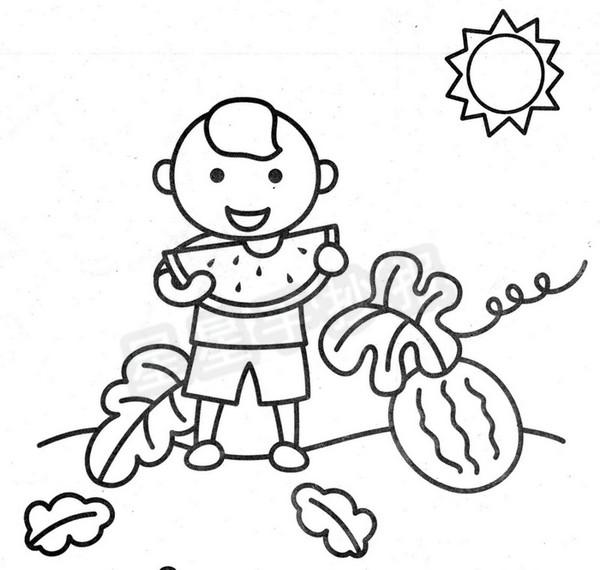 小朋友吃西瓜简笔画