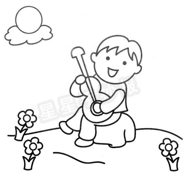 弹吉他简笔画