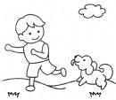 小朋友遛狗简笔画图片