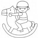 小朋友骑木马简笔画