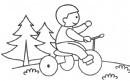 小朋友骑童车简笔画