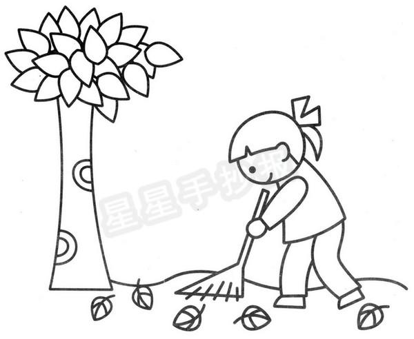 小朋友扫落叶简笔画