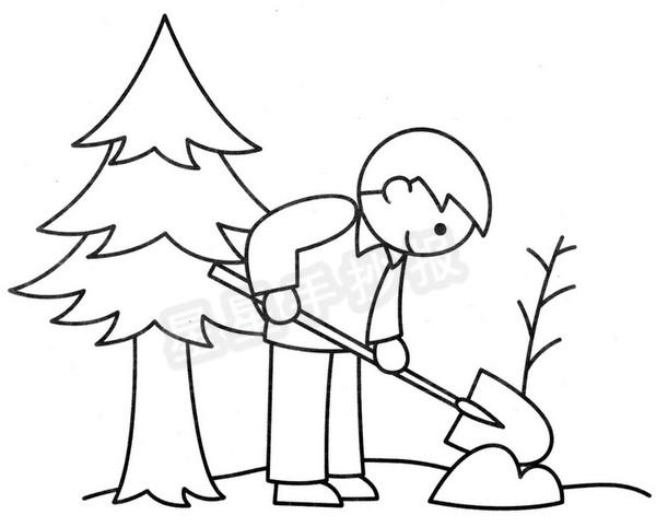 植树简笔画,教你超简单的大树简笔画