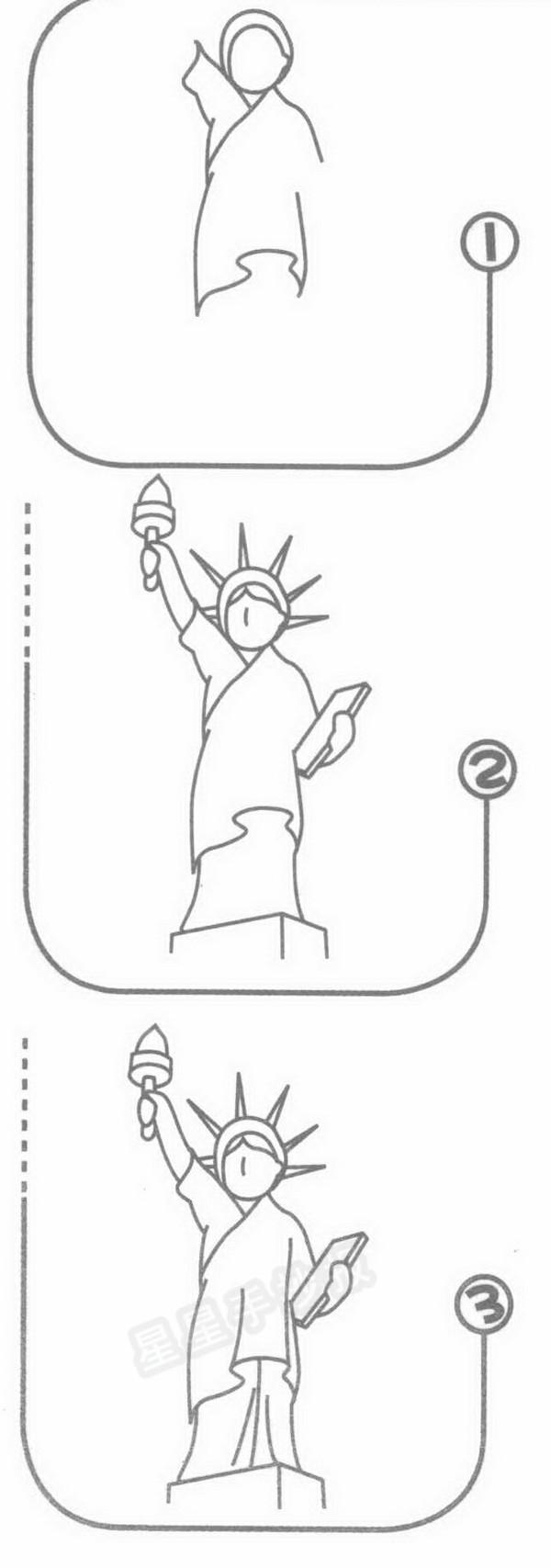 自由女神像简笔画