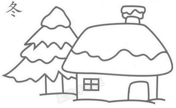 冬天房子简笔画