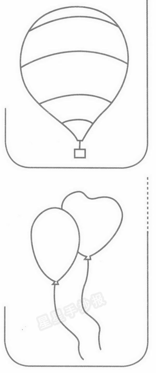多彩的气球简笔画
