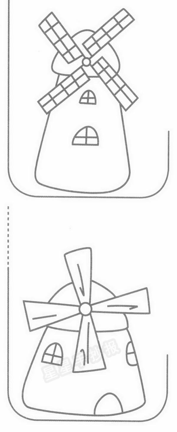 风车简笔画示例图片 风车的由来资料: 有两种说法: 一。人类使用风车已有3000多年的历史。世界上最早发明并使用风车的国家要数古希腊人了。现存最早的风车,是非洲尼罗河西北部亚历山大利亚的石塔风车,塔的顶部曾建有一架带有六片羽翼的风车。据文字记载,公元前650年,古希腊有一位叫阿布•罗拉的奴隶,曾对他的主人说,他可以借用风的力量,把水从井下提上来。主人听了十分高兴,立即决定让罗拉来进行这项试验。不久,罗拉创造的风车诞生了。用砖砌成的如高塔一般的建筑物,前后各开一个通风口,中间有一根巨大的转轴,