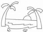 沙滩简笔画