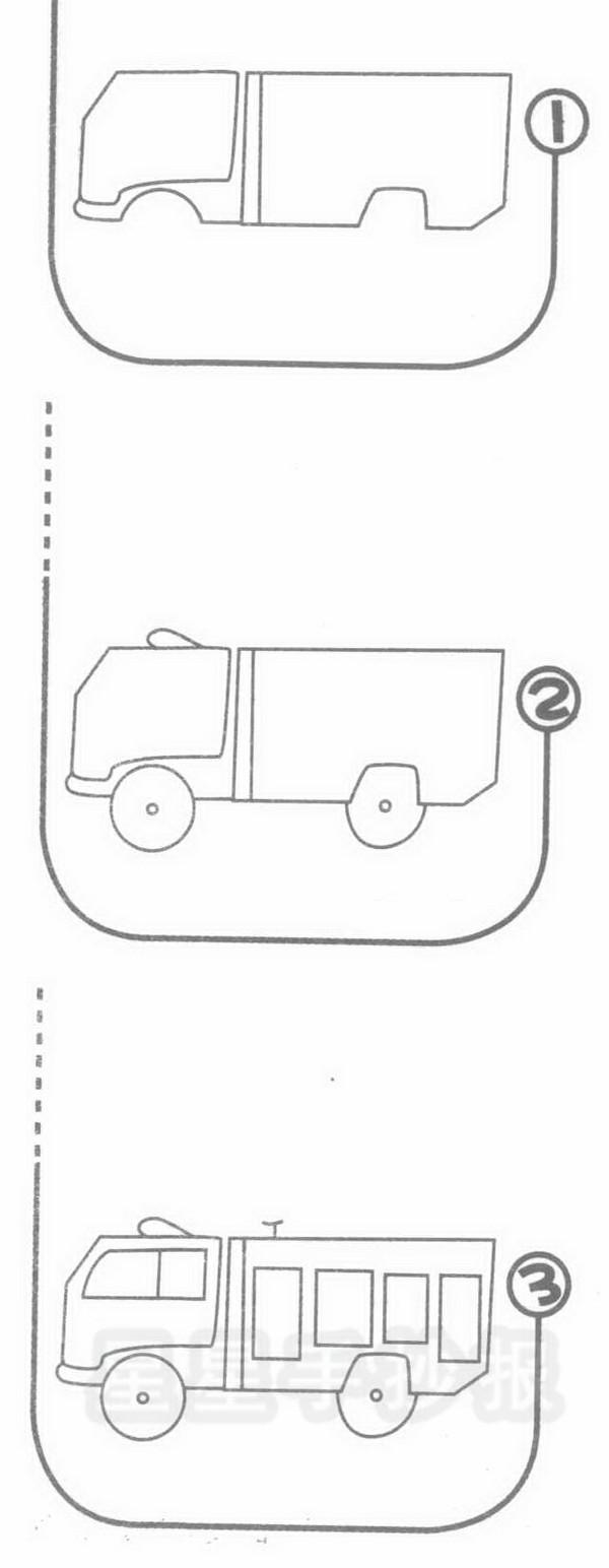 消防车简笔画图片画法