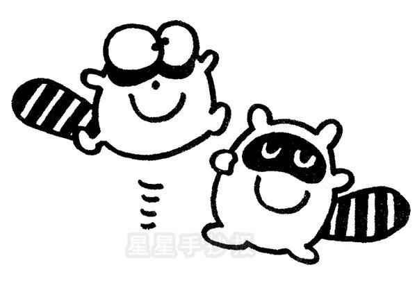 浣熊简笔画简单画法图片