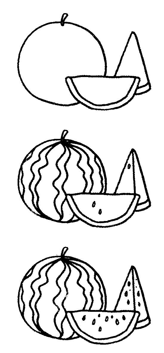 卡通西瓜简笔画