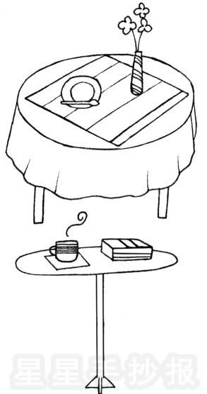 餐桌桌布_桌子简笔画简单画法