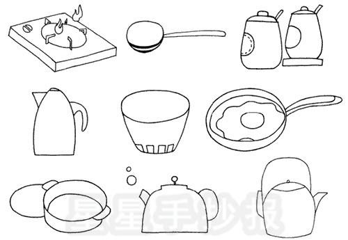 厨房用品简笔画