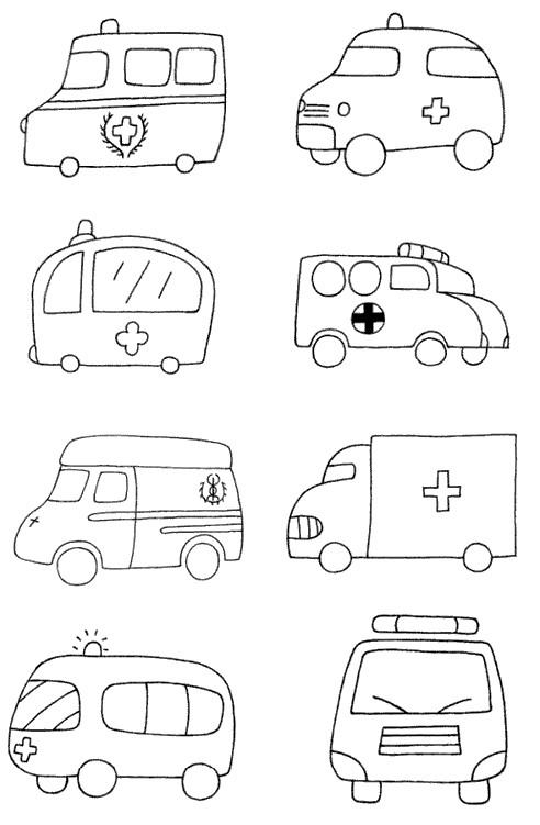 卡通救护车简笔画