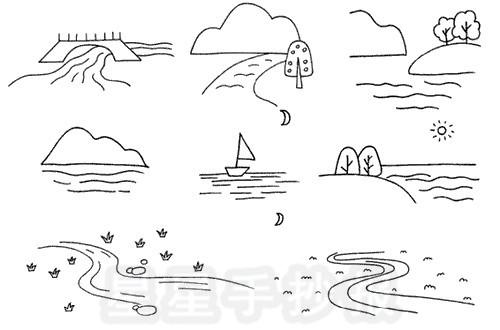 河流怎么画简笔画图解
