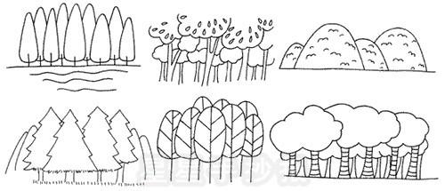 树林简笔画怎么画