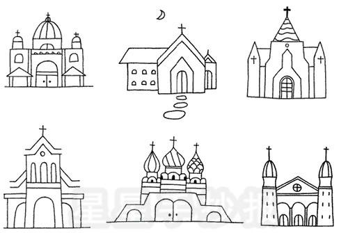 教堂简笔画图片教程