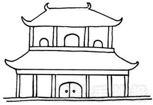 中國古代建筑簡筆畫圖片