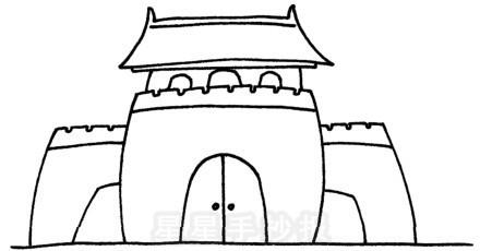 小学生古城简笔画 城门城墙儿童画简笔画图片