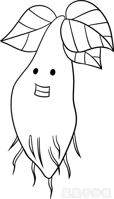 第三步,使用拟人法画上眼睛和嘴巴,然后在底部画上许多条树根;