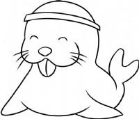 卡通海狮简笔画