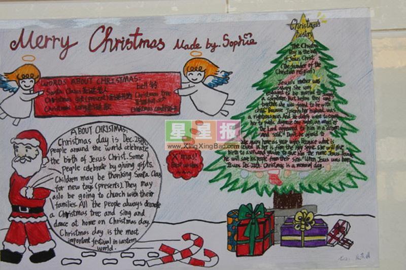 圣诞节英语手抄报图片:Merry Christmas
