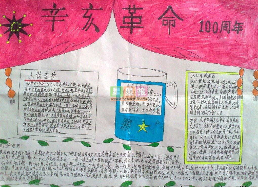 红旗插图手抄报(革命题目)