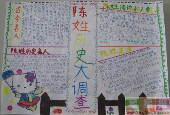 小学生姓氏手抄报版面设计图图片