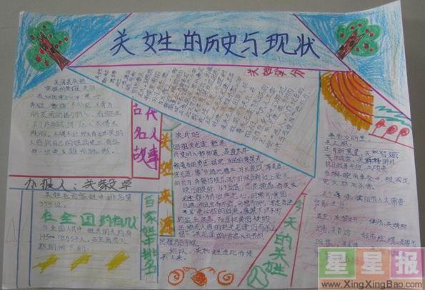 小学生姓氏手抄报设计图 - 星星报