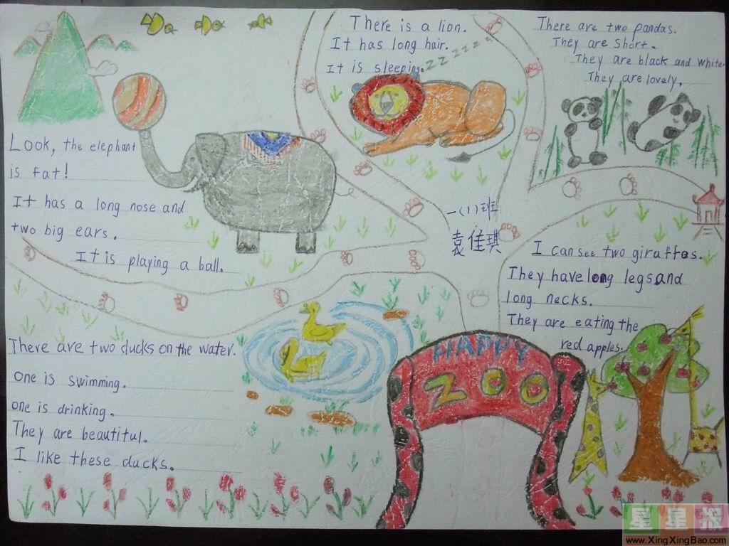 zoo英语手抄报版面设计图