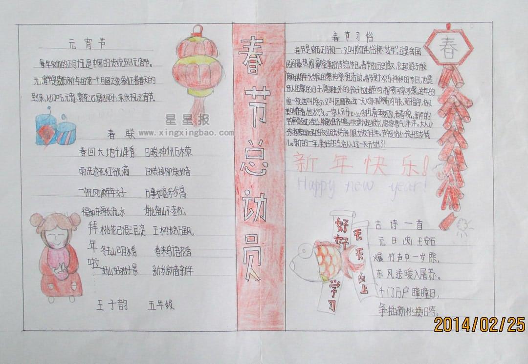 春节总动员手抄报资料