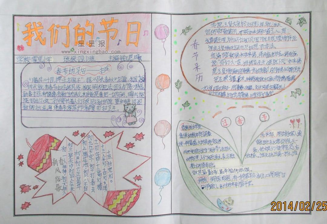 我们的节日手抄报资料——春节