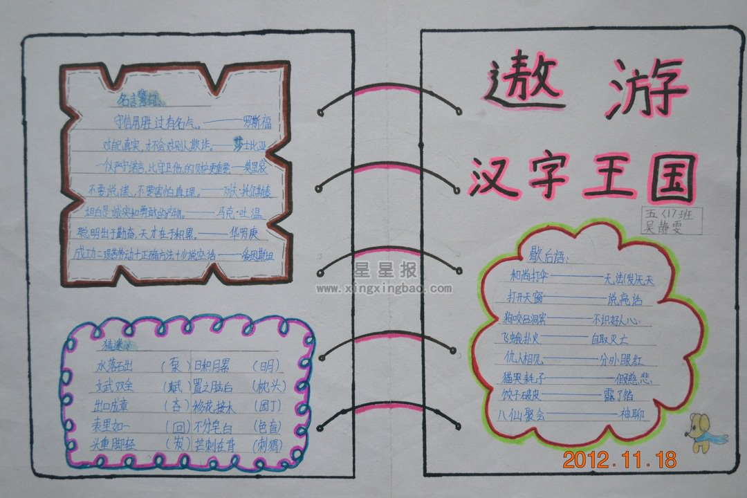遨游汉字王国手抄报图片