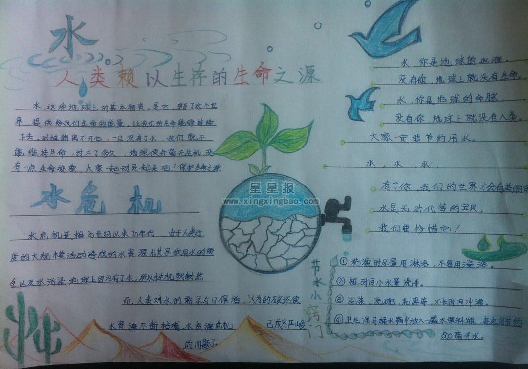 小学生节约用水手抄报资料