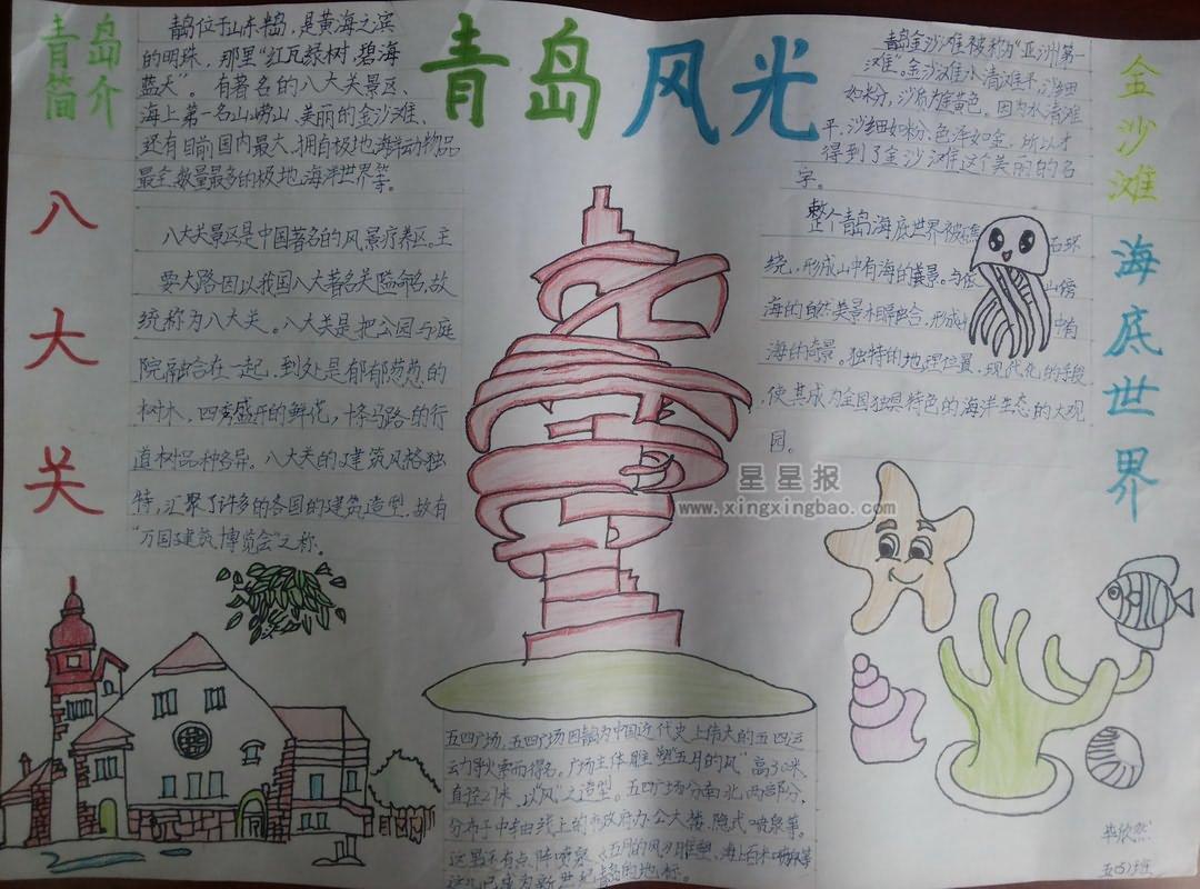 青岛风光手抄报资料