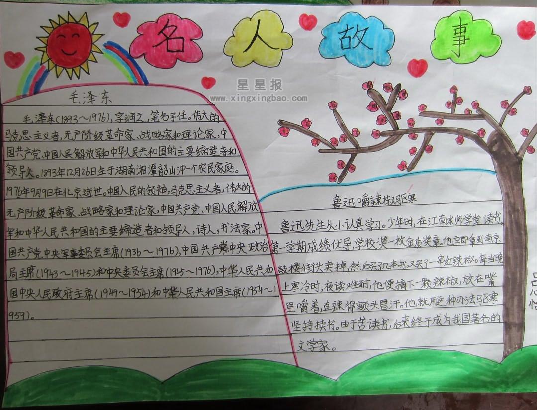 小学生版面名人手抄报故事设计图小学生谈恋爱图片