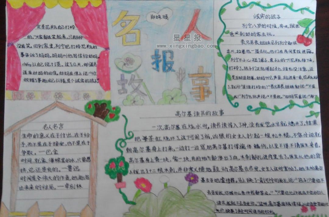 小学生小学学位手抄报名人故事岭园内容房图片