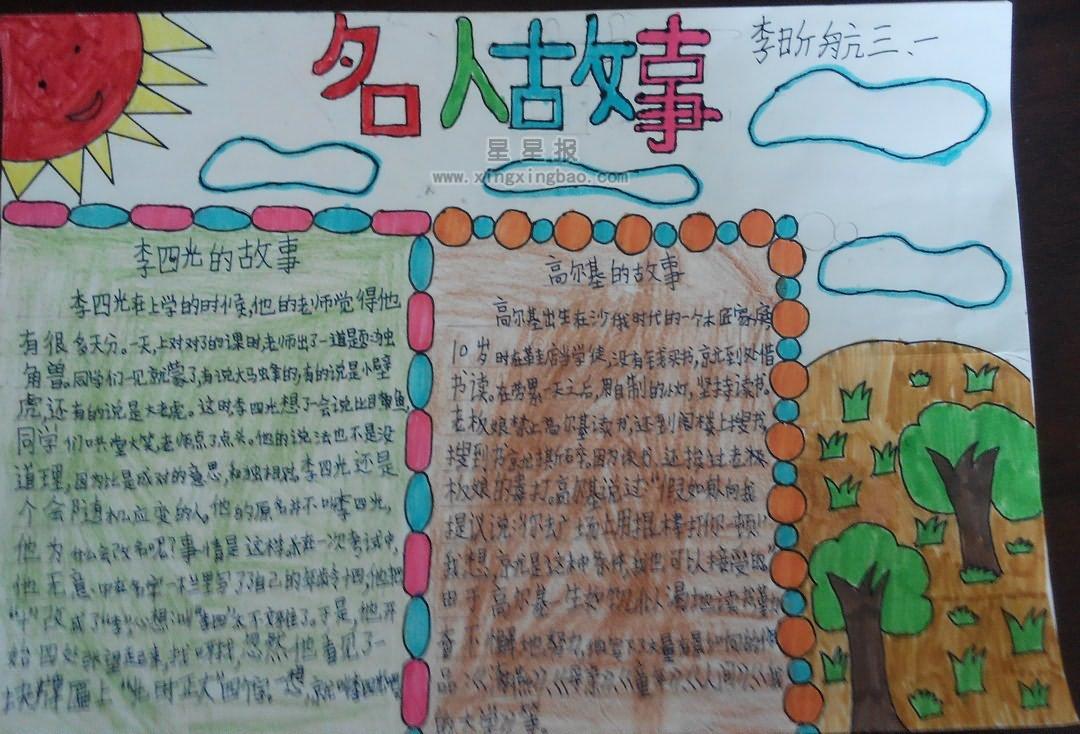 小学生故事名人手抄报小学辅导班注册内容图片