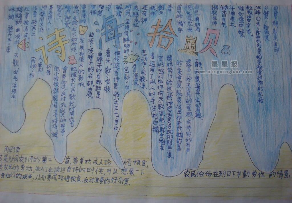 关于诗海拾贝手抄报版面设计图10张