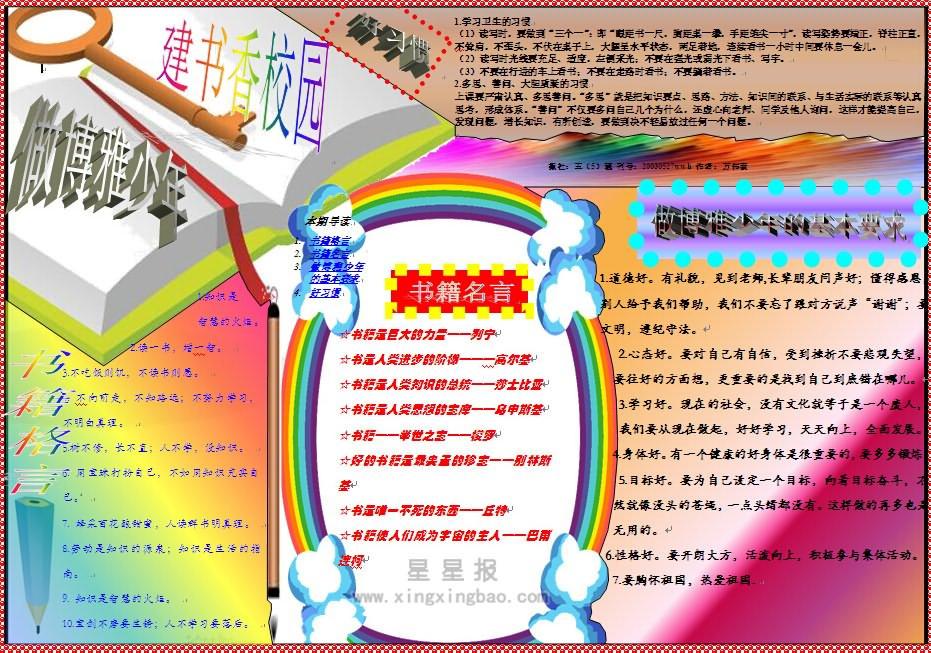 书香校园电子手抄报资料