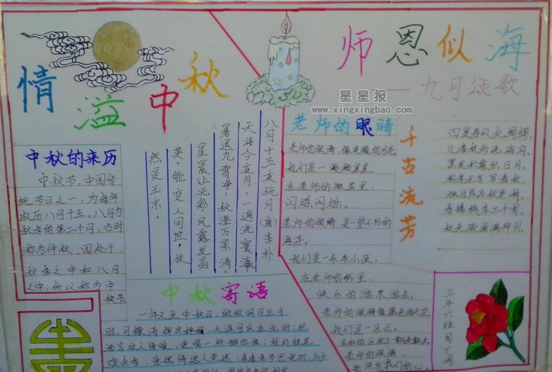中秋节与教师节手抄报设计图7张