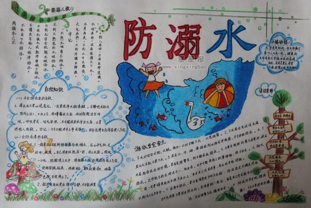 防溺水手抄报版面设计图