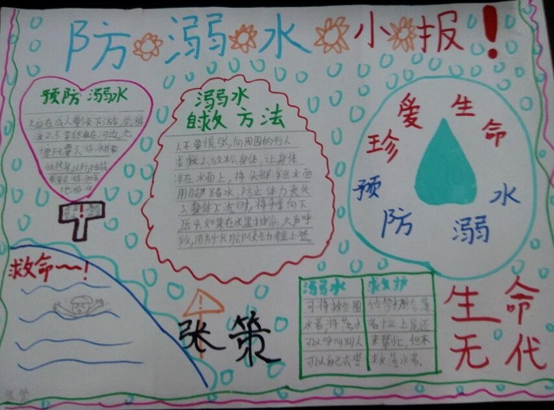 小学四年级防溺水手抄报