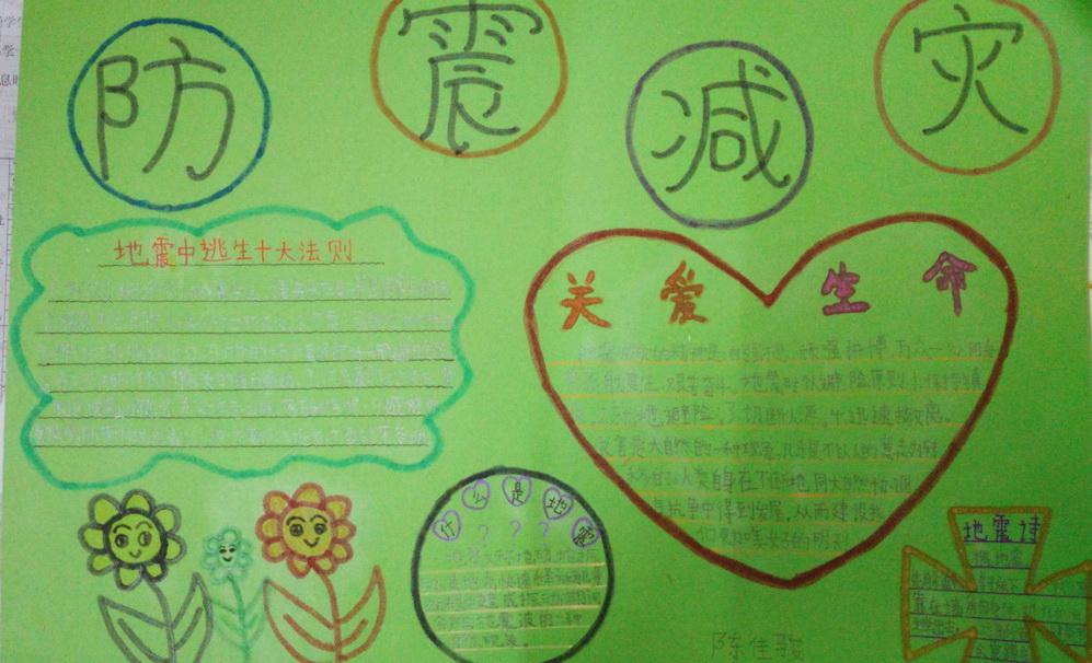 小学二年级防震减灾手抄报小学生怎么写日记图片