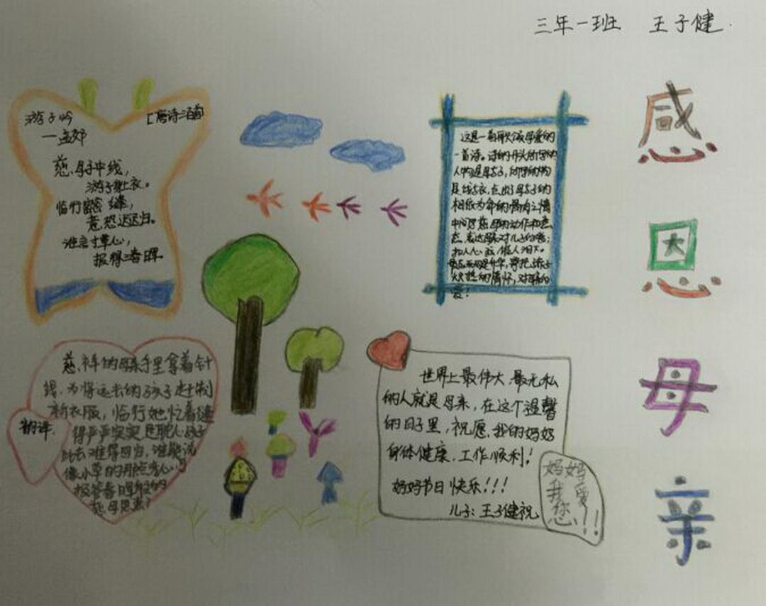 三年级感恩母亲手抄报资料图片