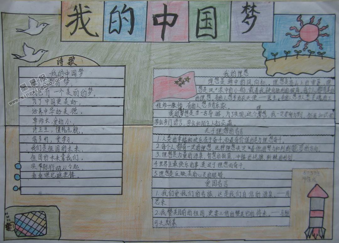 我的中国梦手抄报图片,内容